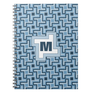 Houndstooth Style Geometric Tessellation in Blue Notebook