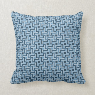 Houndstooth Style Geometric Tessellation in Blue Pillow