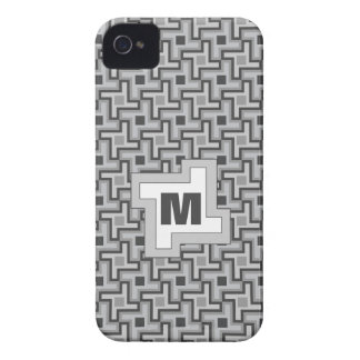 Houndstooth Style Geometric Tessellation in Grey iPhone 4 Case-Mate Cases