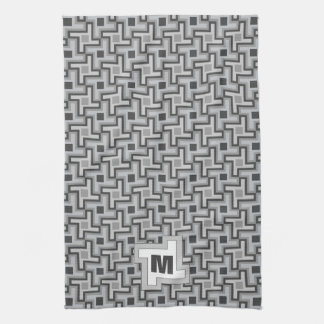 Houndstooth Style Geometric Tessellation in Grey Kitchen Towels