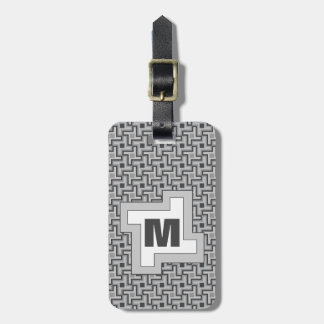 Houndstooth Style Geometric Tessellation in Grey Luggage Tag