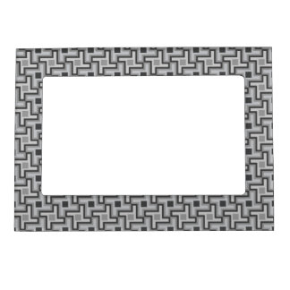 Houndstooth Style Geometric Tessellation in Grey Magnetic Frame