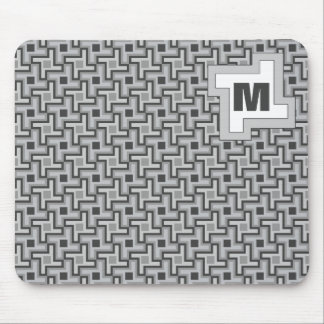 Houndstooth Style Geometric Tessellation in Grey Mouse Pad