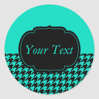 Houndstooth Style Round Stickers