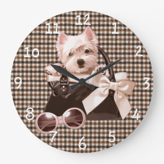Houndstooth Westie puppy Large Clock