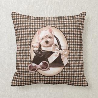 Houndstooth Westie puppy Throw Pillows
