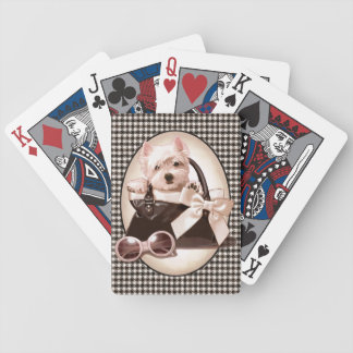 Houndstooth Westie puppy Bicycle Playing Cards