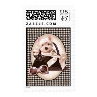 Houndstooth Westie puppy Postage Stamp