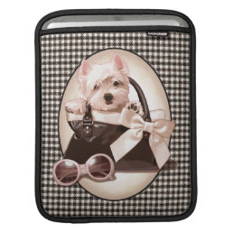 Houndstooth Westie puppy Sleeve For iPads