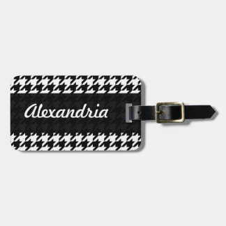 Houndstooth White Black Decorative Art Pattern Tags For Bags