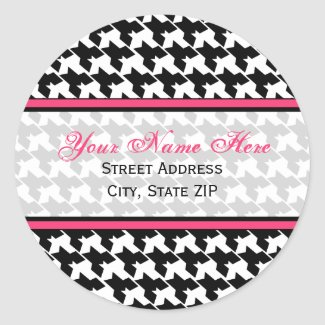 Houndstooth with Pink Address Labels sticker