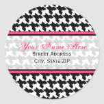 Houndstooth with Pink Address Labels Stickers