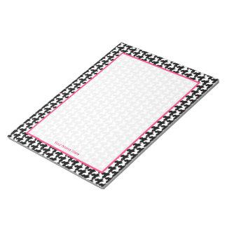 Houndstooth y libreta personalizada rosa libreta para notas