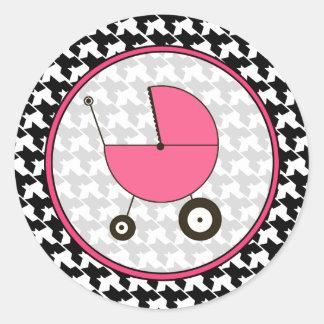 Houndstooth y pegatina rosado del carro de bebé