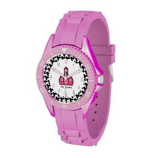 Houndstooth y reloj deportivo del profesor de la e