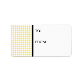 Houndstooth Yellow and White Label