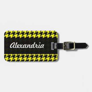 Houndstooth Yellow Black Decorative Art Pattern Luggage Tags