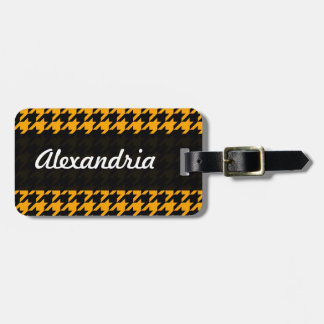 Houndstooth Yellow Black Decorative Art Pattern Tag For Bags