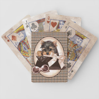 Houndstooth Yorkie Puppy Bicycle Playing Cards
