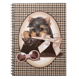 Houndstooth Yorkie Puppy Notebook