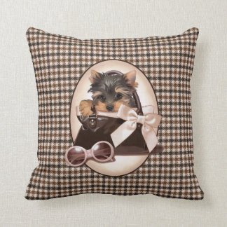 Houndstooth Yorkie Puppy Pillow