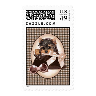 Houndstooth Yorkie Puppy Stamps
