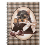 Houndstooth Yorkie Puppy Spiral Notebook