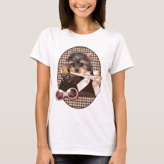 Houndstooth Yorkie Puppy T-Shirt