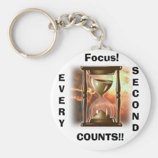 Hourglass, Focus!, EVERY, SECOND, COUNTS!! Keychain