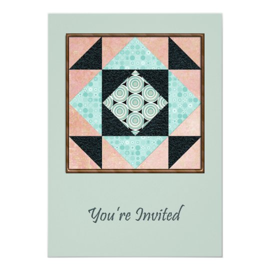 Hourglass  Patchwork in Turquoise & Peach Card