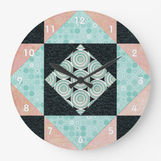 Hourglass Quilt Patch in Turquoise and Peach Clock