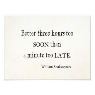 Hours Too Soon Minute Too Late Shakespeare Quote Art Photo