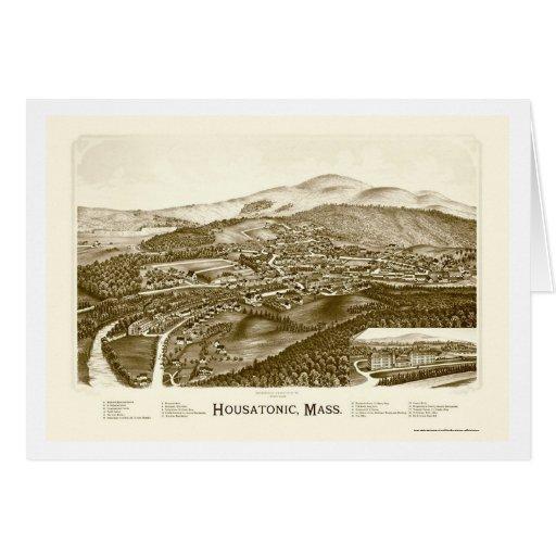 Housatonic, mapa panorámico del mA - 1890 Tarjeta De Felicitación