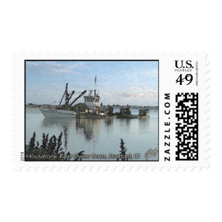 Housatonic River Oyster Boats Stratford CT Stamp
