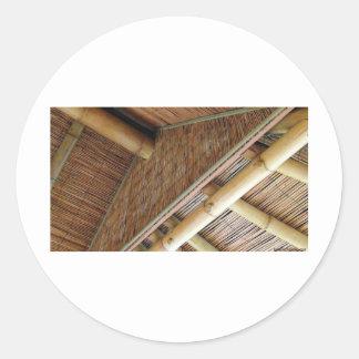House1.jpg de bambú pegatina redonda