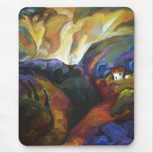 House among the hills_ mouse pad