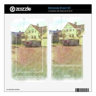 house and car motorola droid x2 skins