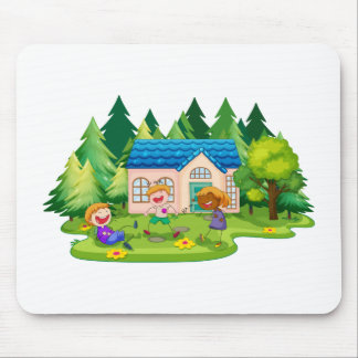 House and children mouse pad