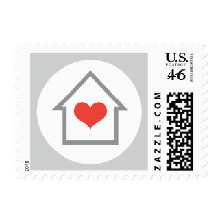 House and heart housewarming or new address moving postage stamps