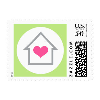 House and heart housewarming or new address moving postage