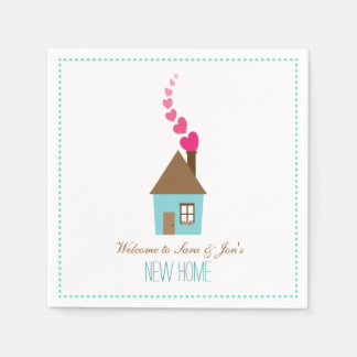 House and Hearts, Welcome to New Home Personalized Standard Cocktail Napkin
