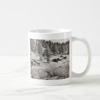 house and mountain in sepia coffee mug