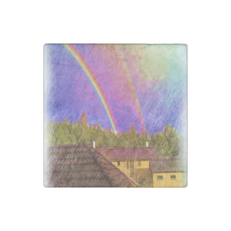 House and rainbow stone magnet