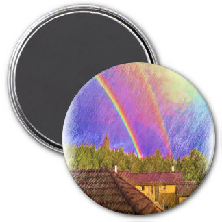 House and rainbow 3 inch round magnet