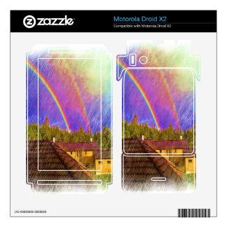 House and rainbow motorola droid x2 decal