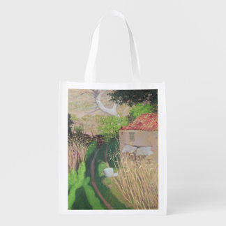 House and Reeds, c.1921-24 Reusable Grocery Bag