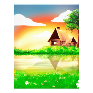 House and river painting letterhead design