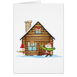 house and santa claus card