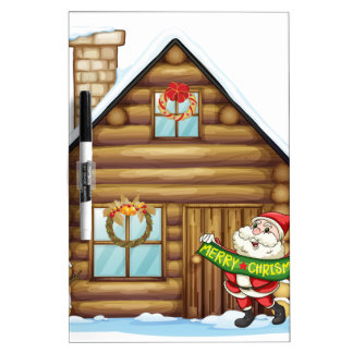 house and santa claus dry erase board