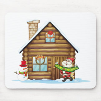 house and santa claus mouse pad
